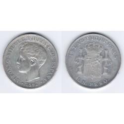Alfonso XIII. 1897. 1 Peso (BC) (Plata) Ceca de Manila SG-V