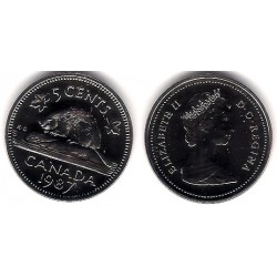 (60.2a) Canadá. 1987. 5 Cents (Proof)