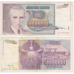 (121) Yugoslavia. 1993. 5 Million Dinara (BC+)