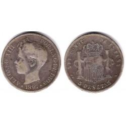 Alfonso XIII. 1897*(-8---). 5 Pesetas (BC) (Plata) Ceca de Madrid PG-L. Falsa de Época