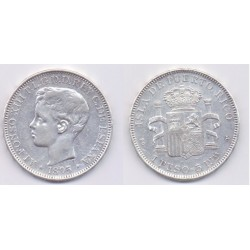 Alfonso XIII. 1895. 1 Peso (MBC) (Plata) Ceca de Puerto Rico PG-V