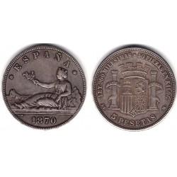 Gobierno Provisional. 1870*(18-70). 5 Pesetas (BC+) Ceca de Madrid SN-M. Falsa de Época