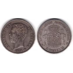 Amadeo I. 1871*(18-71). 5 Pesetas (BC+) Ceca de Madrid SD-M. Falsa de Época