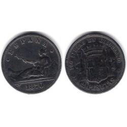 Gobierno Provisional. 1870*(---75). 2 Pesetas (MBC-) Ceca de Madrid DE-M. Falsa de Época