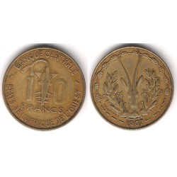 (1a) Estados África Oeste. 1967. 10 Francs (MBC)