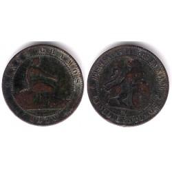Gobierno Provisional. 1870. 5 Céntimos (BC+) Ceca de Barcelona OM