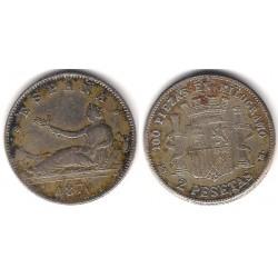 Gobierno Provisional. 1870*(18-70). 2 Pesetas (BC-) Ceca de Madrid SN-M. Falsa de Época