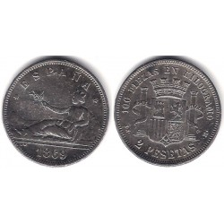 Gobierno Provisional. 1869*(18-69). 2 Pesetas (MBC+) Ceca de Madrid SN-M. Falsa de Época