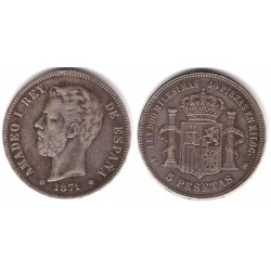 Amadeo I. 1871*(18-75). 5 Pesetas (MBC-) Ceca de Madrid DE-M. Falsa de Época