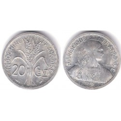 (29.2) Indochina Francesa. 1945(B). 20 Centimes (SC)
