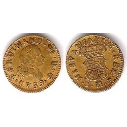 Fernando VI. 1759. ½ Escudo (MBC-) (Oro) Ceca de Madrid M y Rosa