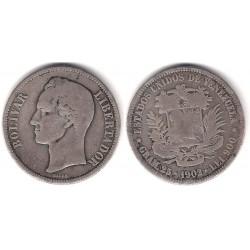 (Y24.2) Venezuela. 1902. 5 Bolivares (BC) (Plata)