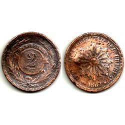 (12) Uruguay. 1869(A). 2 Centesimos (RC)