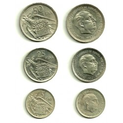 Estado Español. 1957*(BA). Serie Completa (5-25-50 Pesetas) (SC)