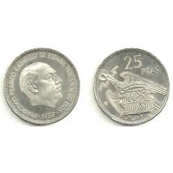 Estado Españo. 1957*(75). 25 Pesetas (Proof)