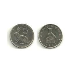 (2) Zimbabue. 1997. 5 Cents (SC)