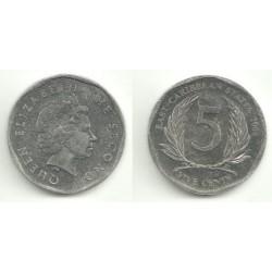 (38) Estados Orientales Caribeños. 2008. 5 Cents (EBC)