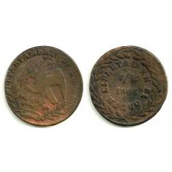 (348) Estados Unidos Mexicanos. 1866. ¼ Real (MBC)
