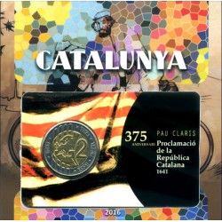 Cataluña. 2016. Cartera + 2 Euro (Pack conjunto)