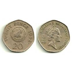 Guernsey. 1992. 20 Pence (MBC)