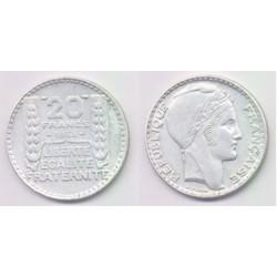 (879) Francia. 1938. 20 Francs (MBC) (Plata)