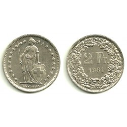 (21a.1) Suiza. 1981. 2 Francs (BC)