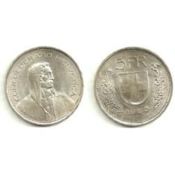 (40) Suiza. 1969(B). 5 Francs (MBC) (Plata)