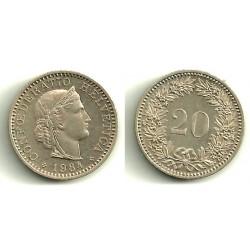 (29a) Suiza. 1984. 20 Rappen (SC)