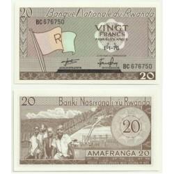 (6) Ruanda. 1976. 20 Francs (SC)