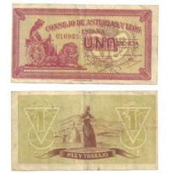 [1936] Billete de 1 Peseta (BC). Sin Serie.