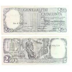 [1936] Billete de 2.50 Pesetas (MBC). Serie A (Negro).