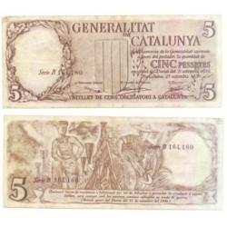 [1936] Billete de 5 Pesetas (MBC). Serie B.