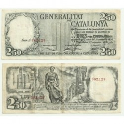 [1936] Billete de 2.50 Pesetas (MBC). Serie A (Rojo).