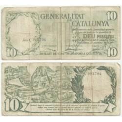 [1936] Billete de 10 Pesetas (RC). Serie C.