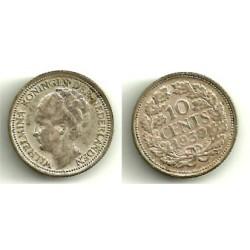 (163) Paises Bajos. 1939. 10 Cents (MBC+) (Plata)