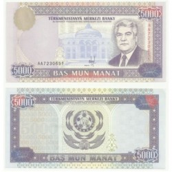 (9) Turkmenistán. 1996. 5000 Manat (EBC)