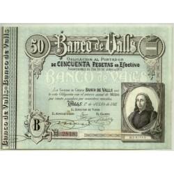 [1911] Banco de Valls. 50 Pesetas (EBC+)