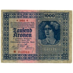 Austria-Hungria. 1922. 1000 Kronen (MBC)