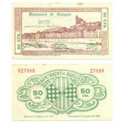 Balaguer [1937] Billete de 50 Cèntims (SC)