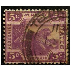 Malaya. 1922. 5 Cents. Tiger