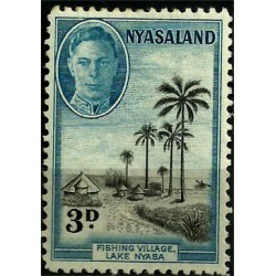 Nyasaland. 1945. 3 Pound. Fishing Village, Lake Nyasa