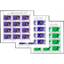 (3076 a 3078,MP17 a MP19) 1990. Serie Pre-Olímpica (3x Minipliegos de 12 sellos)