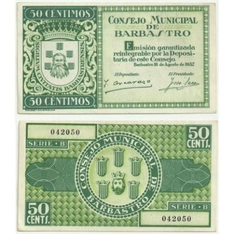 Barbastro [1937] Billete de 50 Céntimos (SC)