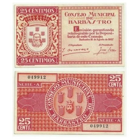 Barbastro [1937] Billete de 25 Céntimos (SC)