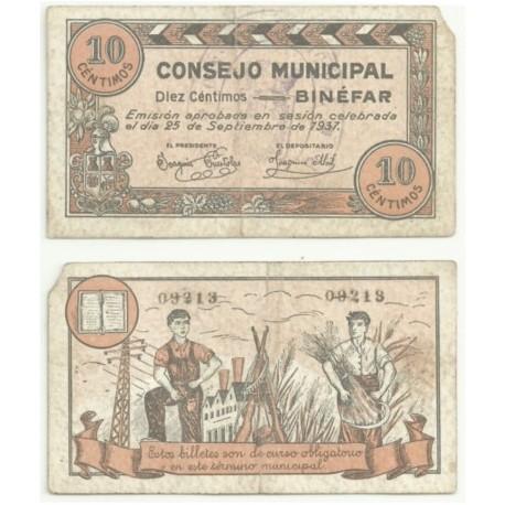 Binéfar [1937] Billete de 10 Céntimos (BC)