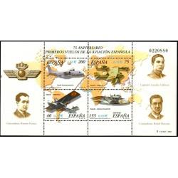 (3790) 2001. 40, 75, 155, 260 Pesetas (3,18 Euro). Aviación. 75 Aniv. primeros vuelos