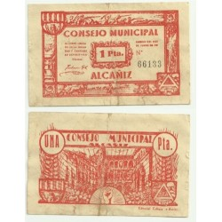 Alcañiz [1937] Billete de 1 Peseta (MBC)