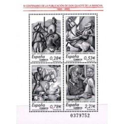 """(4161) 2005. 0,28, 0,53, 0,78, 2,21 Euro. IV Cent. publicación """"El Ingenioso hidalgo don Quijote de la Mancha"""""""