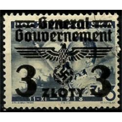 (N47) Polonia (Ocupación Alemana). 1940. 3 Zloty. Con Sobrecarga (Usado)