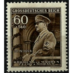 (B25) Bohemia y Moravia (Ocupación Alemana). 1944. 0,60 + 1,40 Koruna. Adolf Hitler (Nuevo)